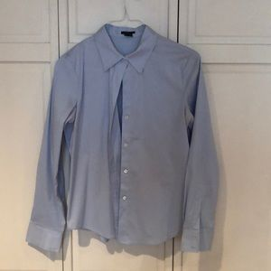Theory blue button down work top